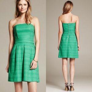 NWT Banana Republic Emerald Tweed Strapless Dress